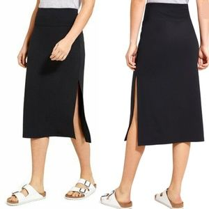 Athleta Black Oceana Midi Skirt
